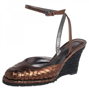Bottega Veneta Metallic Brown Intrecciato Leather Ankle Strap Sandals Size 38