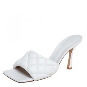 Bottega Veneta White Padded Leather Sandals Size 37.5
