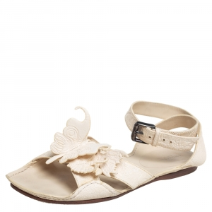 Bottega Veneta Cream Leather Butterfly Detail Flat Sandals Size 37.5 - used