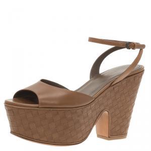 Bottega Veneta Brown Leather Intrecciato Platform Sandals Size 37.5 - used