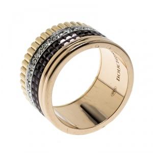 Boucheron Quatre Classique Diamond 18k Three Tone Gold Large Band Ring Size 53