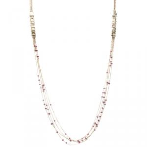Boucheron Frou Frou 18k Yellow Gold Diamonds And Tourmaline Bead Necklace