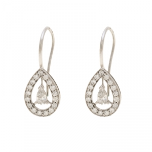 Boucheron Ava 18k White Gold Diamonds Pear Earrings