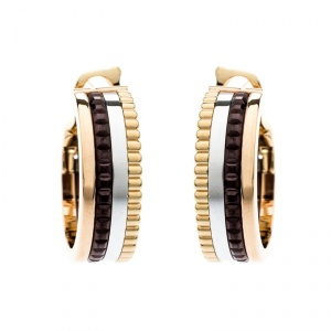 Boucheron Quatre Classique Brown PVD 18k Three Tone Gold Hoops Earrings