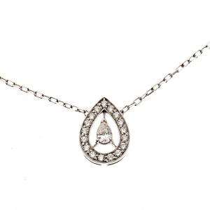Boucheron Ava Pear Diamond 18k White Gold Pendant Necklace