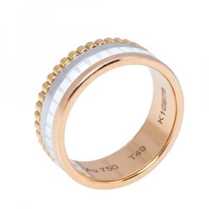 خاتم بوشيرون ذهب ثلاثة ألوان عيار 18 سيراميك محدود أبيض كواتر مقاس 49