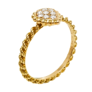 Boucheron Serpent Boheme Diamond 18K Yellow Gold XS Motif Ring Size 51