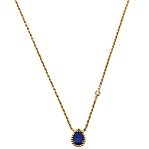 Boucheron Serpent Bohème Lapis Lazuli Diamond 18K Yellow Gold Pendant Necklace XS