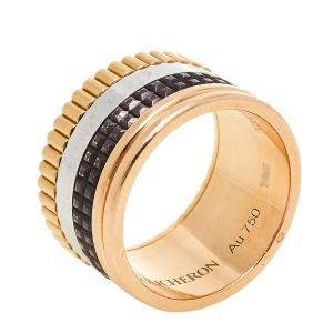 Boucheron Quatre Classique 18K Three Tone Gold Brown PVD Large Band Ring Size 52