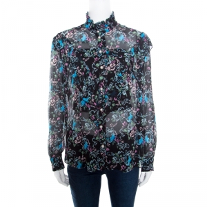 Boutique Moschino Black Abstract Floral Print Ruffle Detail Crinkled Silk Blouse S