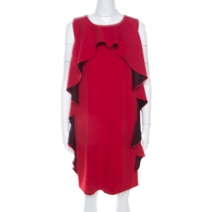 Boutique Moschino Red Crepe Knit Ruffle Front Sleeveless Shift Dress M used