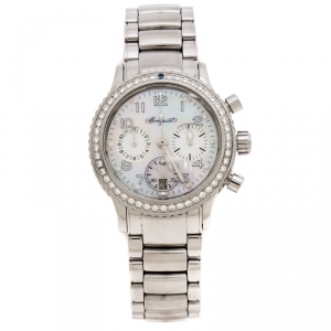 Breguet Mother of Pearl Stainless Steel Diamonds Transaltantique Type XX Ref.4821 Women's Wristwatch 33 mm