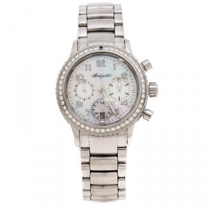 ساعة يد نسائية بريغيه Transaltantique Type XX Ref.4821 ألماسات ستانلس ستيل صدف 33 مم
