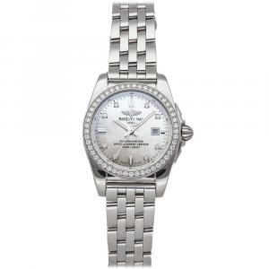Breitling MOP Diamonds Stainless Steel Galactic A7234853/A785 Women's Wristwatch 29 MM