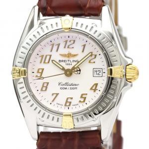 Breitling White 18K Yellow Gold And Stainless Steel Callistino Quartz B52345 Women's Wristwatch 28 MM