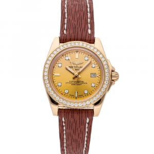 Breitling Yellow Diamonds 18k Rose Gold Galactic H7133053/H550 Women's Wristwatch 32 MM