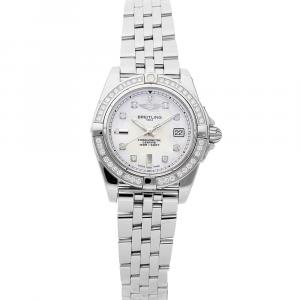 Breitling MOP Diamonds Stainless Steel Galactic A71356LA/A708 Women's Wristwatch 32 MM