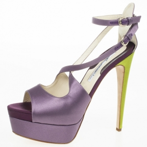 Brian Atwood Purple Satin Alexie Platform Sandals Size 39