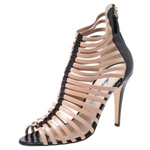 Brian Atwood Beige/Black Dolores Caged Strap Peep Toe Sandals Size 39.5 - used
