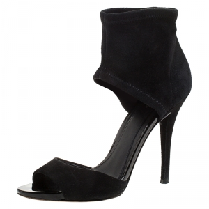 Brian Atwood Black Suede Correns Ankle Cuff Sandals Size 36.5 - used
