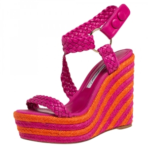 Brian Atwood Pink/Orange Woven Leather Espadrille Wedge Sandals Size 36 - used