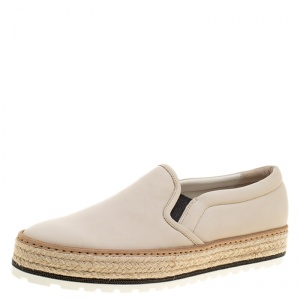 Brunello Cucinelli Beige Leather Espadrille Slip On Sneakers Size 40