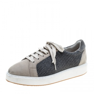 Brunello Cucinelli Beige Nubuck Paneled Platform Sneakers Size 40