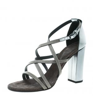 Brunello Cucinelli Metallic Silver Leather Embellished Cross Strap Block Heel Sandals Size 40