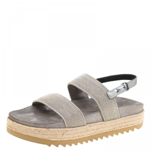 Brunello Cucinelli Metallic Silver Beaded Strap Espadrille Flat Sandals Size 39