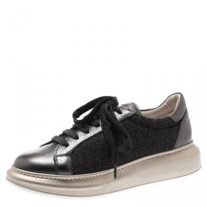 Brunello Cucinelli Dark Grey Wool And Leather Platform Sneakers Size 37.5