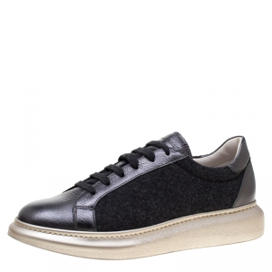 Brunello Cucinelli Dark Grey Wool And Leather Platform Sneakers Size 39