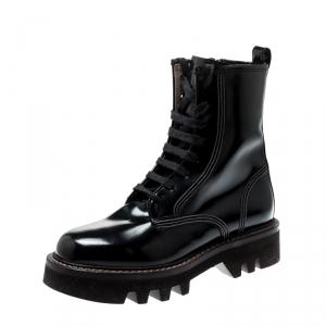 Brunello Cucinelli Black Biker Lace Up Ankle Boots Size 40