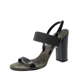 Brunello Cucinelli Black Leather Bead Detail Ankle Strap Sandals Size 39