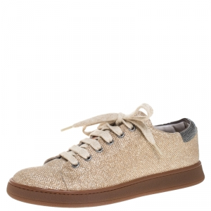 Brunello Cucinelli Beige Glitter Fabric Low Top Sneakers Size 38