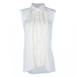 Brunello Cucinelli White Pintucked Ruffle Detail Sleeveless Shirt XXL