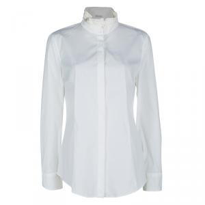 Brunello Cucinelli White Ruffled Collar Detail Long Sleeve Shirt XXL