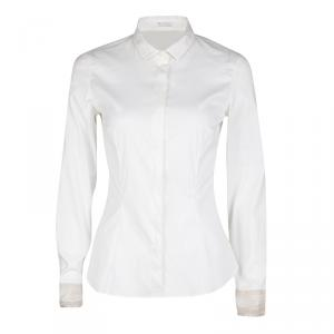 Brunello Cucinelli White Contrast Mesh Cuff Detail Long Sleeve Shirt S