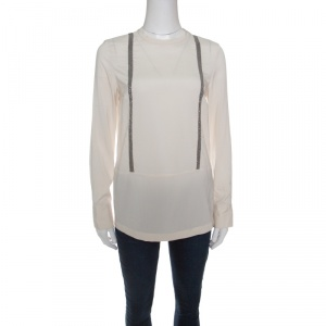 Brunello Cucinelli Cream Embellished Silk Blouse S