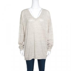 Brunello Cucinelli Beige Metallic Knit Linen Long Sleeve Sweater XXL