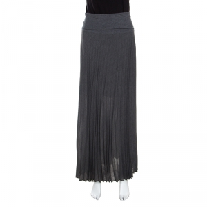 Brunello Cucinelli Grey Knit Pleated Front Slit Detail Maxi Skirt S