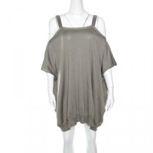 Brunello Cucinelli Grey Cashmere Monili Trim Strap Detail Cold Shoulder Dress S
