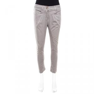 Brunello Cucinelli Grey Overdyed Cotton Stretch Skinny Trousers S