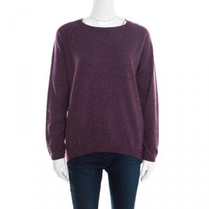 Brunello Cucinelli Purple Ribbed Trim Sweater M