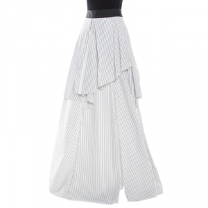 Brunello Cucinelli White Pinstriped Cotton Poplin Layered Vince Maxi Skirt M