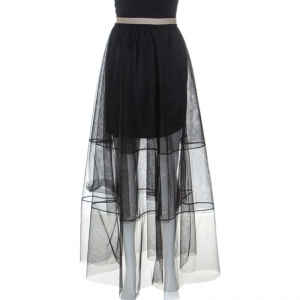 Brunello Cucinelli Black Tulle Tiered Maxi Skirt M
