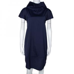 Brunello Cucinelli Navy Blue Stretch Cotton Shift Dress L