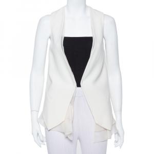 Brunello Cucinelli Cream Wool & Organza Layered Sleeveless Jacket S