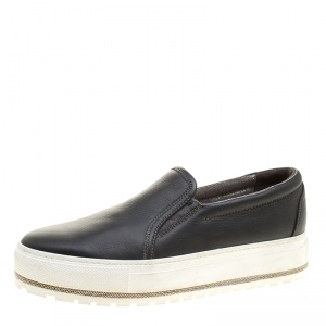 Brunello Cucinelli Black Leather Slip On Sneakers Size 39