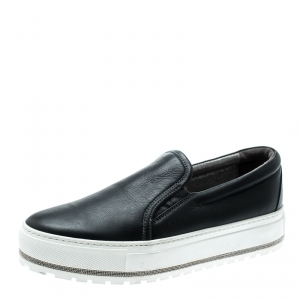 Brunello Cucinelli Black Leather Slip On Sneakers Size 39.5