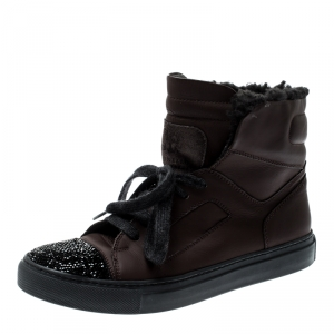 Brunello Cucinelli Brown Leather And Glitter Cap Toe Fur Lined High Top Sneakers Size 37